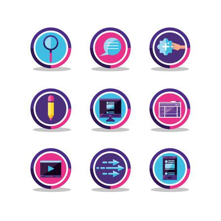 social media set icons vector illustration design