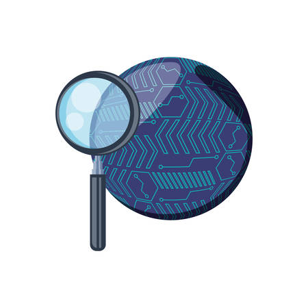 search magnifying glass with circuit electronic vector illustration design