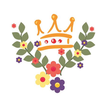 crown luxury flower on white background vector illustration design image