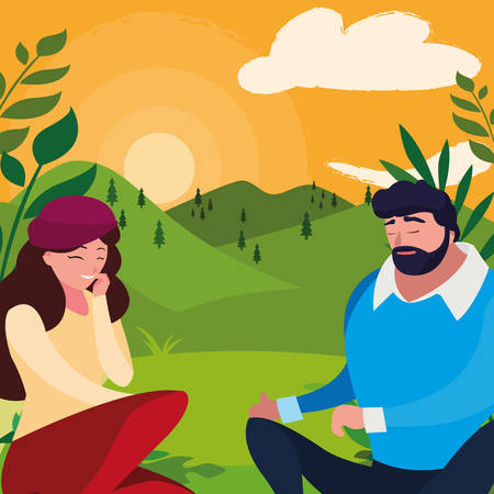 young couple seated in the field vector illustration design Banco de Imagens - 130749619