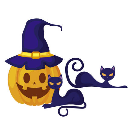 halloween pumpkin with witch hat and cats vector illustration design Illustration