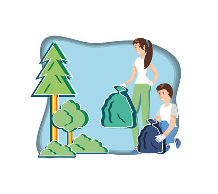 young couple with eco friendly scene vector illustration design Çizim