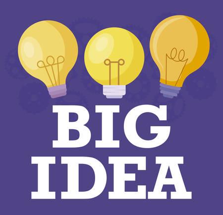 set of light bulbs big idea vector illustration design