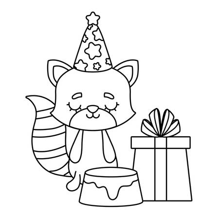 cute cat with cake of birthday and gift box vector illustration design