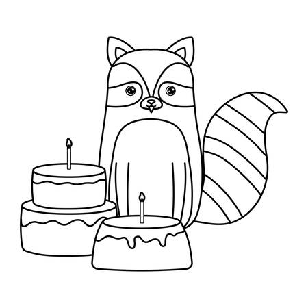 cute raccoon with cakes of birthday vector illustration design