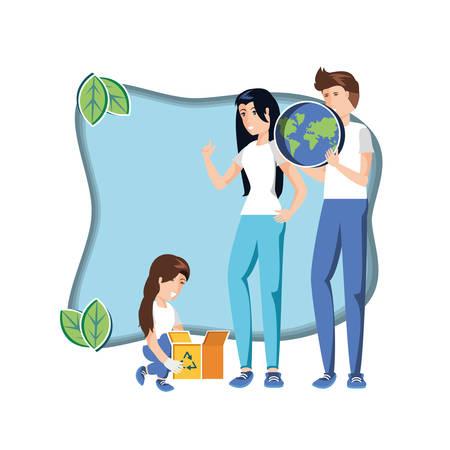 family with world in eco friendly scene vector illustration design Çizim