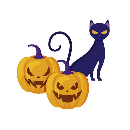 halloween pumpkins with cat isolated icon vector illustration design
