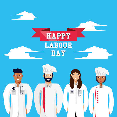 happy labour day with doctors and chef vector illustration design Illustration