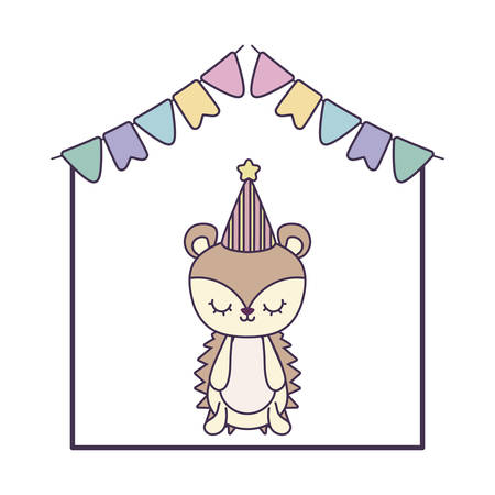 cute porcupine animal with garlands and hat party vector illustration design