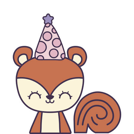 cute chipmunk with hat party vector illustration design