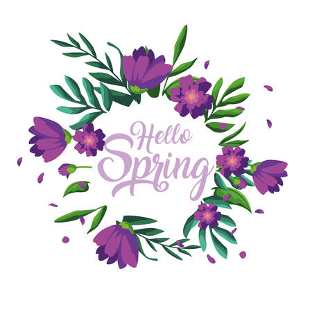 hello spring card with beautiful flowers in frame circular vector illustration design Stock Illustratie