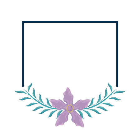 Frame with beautiful flower and leafs vector illustration design