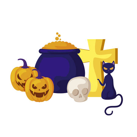 pumpkins with cat and icons halloween vector illustration design Illustration