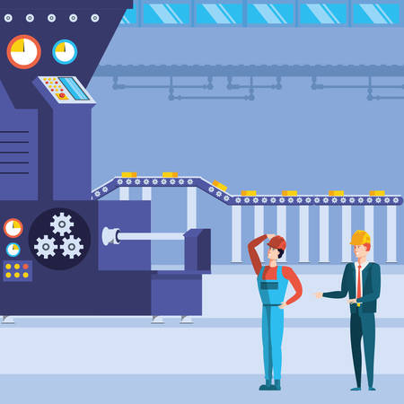 industrial workers in technified factory vector illustration design Ilustracja