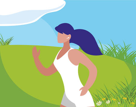 athletic woman running in the camp vector illustration design Çizim