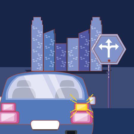 Conduire la voiture de sécurité avec illustration vectorielle de clignotant Vecteurs