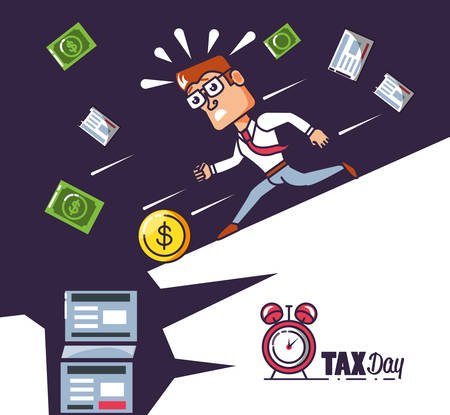 Tax day with businessman and set icons vector illustration design