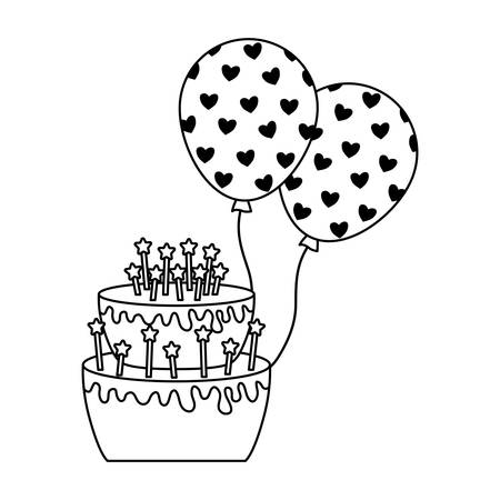 Sweet cake of birthday with balloons helium vector illustration design