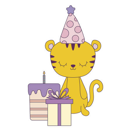 cute tiger with cake of birthday and gift box vector illustration design Illustration