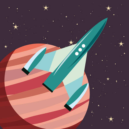 Spaceship planet exploration astronomy vector illustration design Illustration