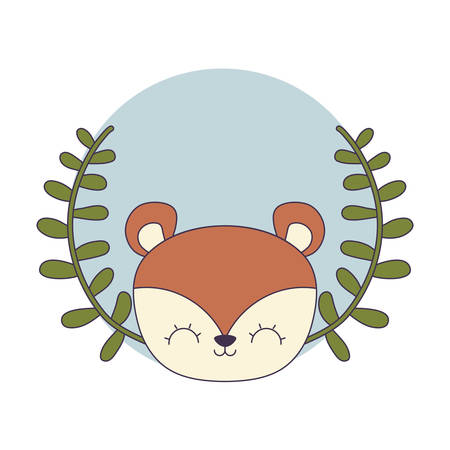 head of cute chipmunk with crown leafs vector illustration design  イラスト・ベクター素材