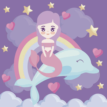 cute mermaid with with dolphin and rainbow vector illustration design