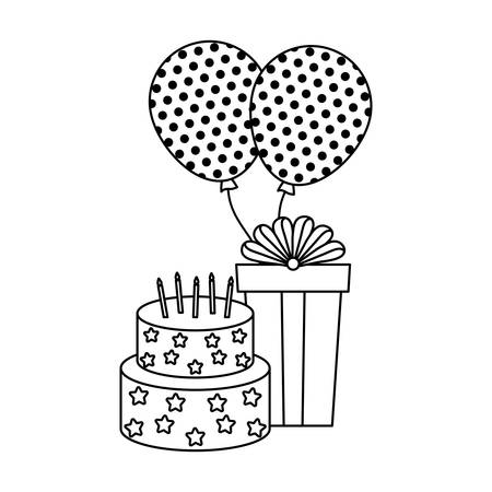 Cake of birthday with gift box and balloons helium vector illustration design
