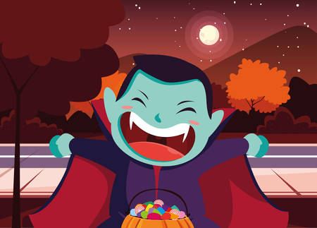 Costumed child design, Halloween holiday horror scary celebration autumn dark and party theme Vector illustration Vectores