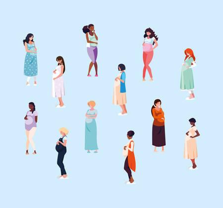 group of pregnant women avatar character vector illustration design