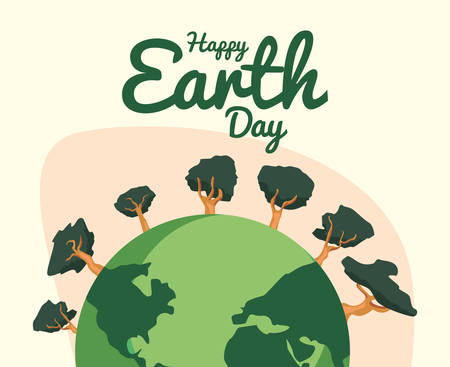 world planet trees happy earth day vector illustration Zdjęcie Seryjne - 130790148