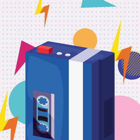 Portable music cassette retro 80s style vector illustration Stock Illustratie
