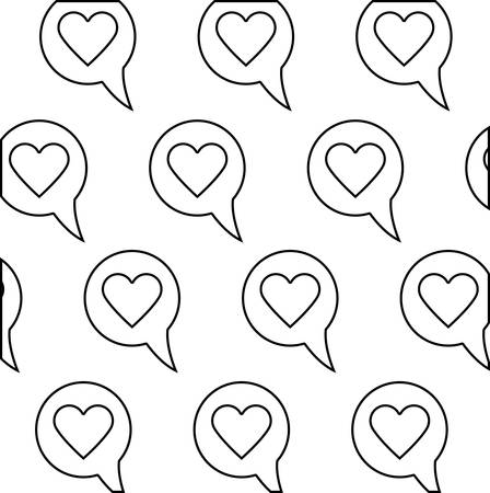 pattern of speech bubbles and hearts vector illustration design