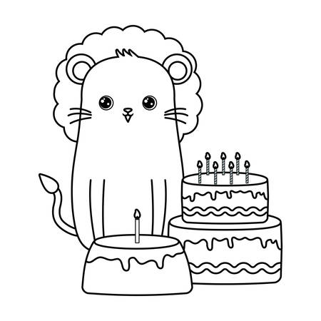 cute lion with cakes of birthday vector illustration design