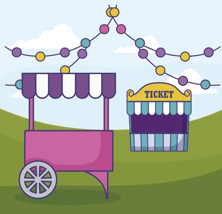 tent sale ticket with carnival kiosk and garlands vector illustration design Stock Illustratie