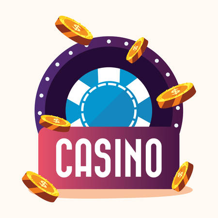 roulette signboard coins money casino game bets vector illustration