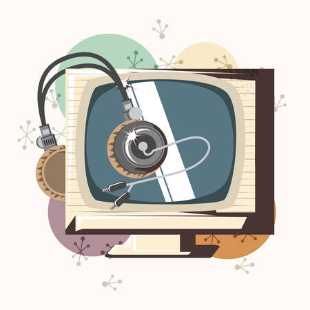retro videogames design with retro television and headphones over white background, colorful design. vector illustration 일러스트