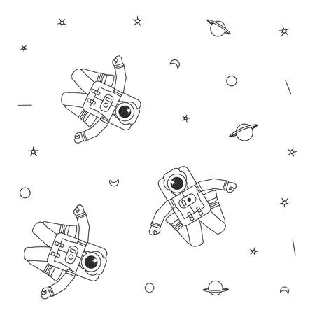 Pattern of astronauts suits with planet saturn and stars vector illustration design Illustration