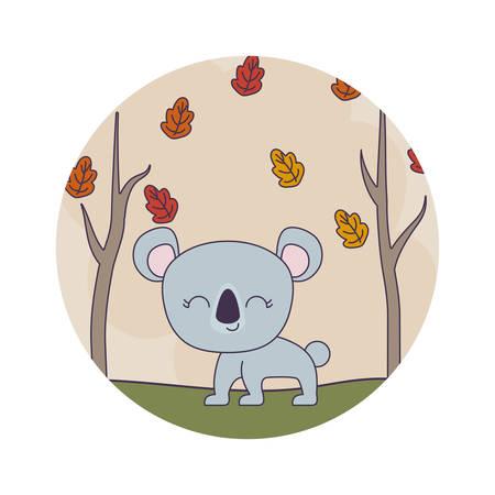 cute koala animal with forest scene vector illustration design Illustration
