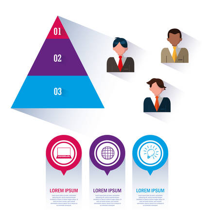 Businessmen with pyramid and infographics vector illustration design