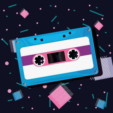 Cassette tape music retro 80s style  memphis vector illustration Stock Illustratie