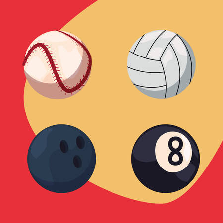 Volleyball, bowling, baseball and billiard sport balls equipment vector illustration
