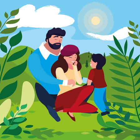 parents with son family in sunny landscape vector illustration design Çizim