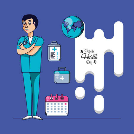 world health day with surgeon and set icons vector illustration design