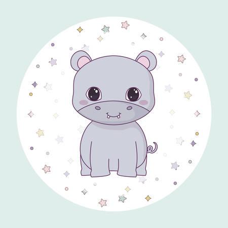 cute hippopotamus animal in frame circular vector illustration design Banque d'images - 130809769