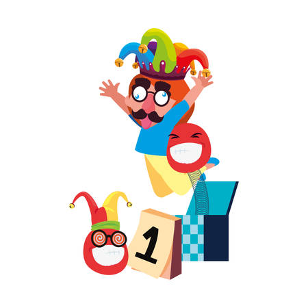 boy with jester hat april fools day vector illustration Banque d'images - 130809806