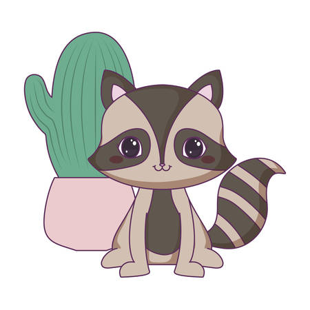 cute raccoon animal with cactus in pot vector illustration design