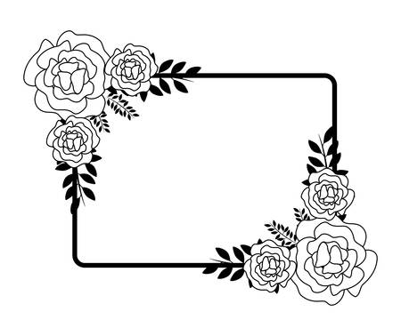 Frame with beautiful flowers nature vector illustration design Illustration