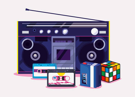 Stereo, cube game retro 80s style vector illustration Stock Illustratie