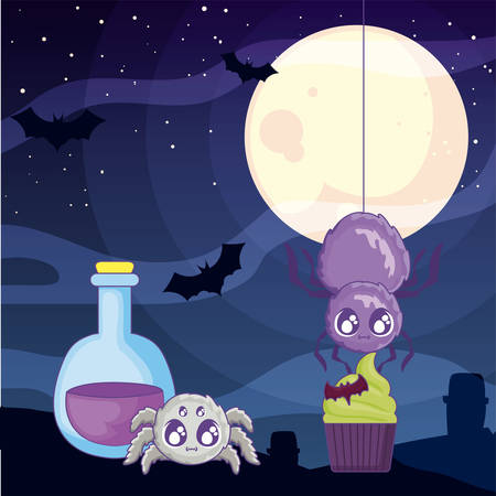 creepy spiders animals on halloween scene vector illustration design