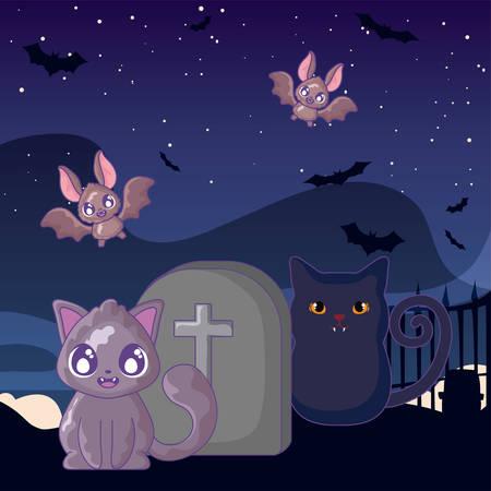 cute cat with graveyard tombstone on halloween scene vector illustration design